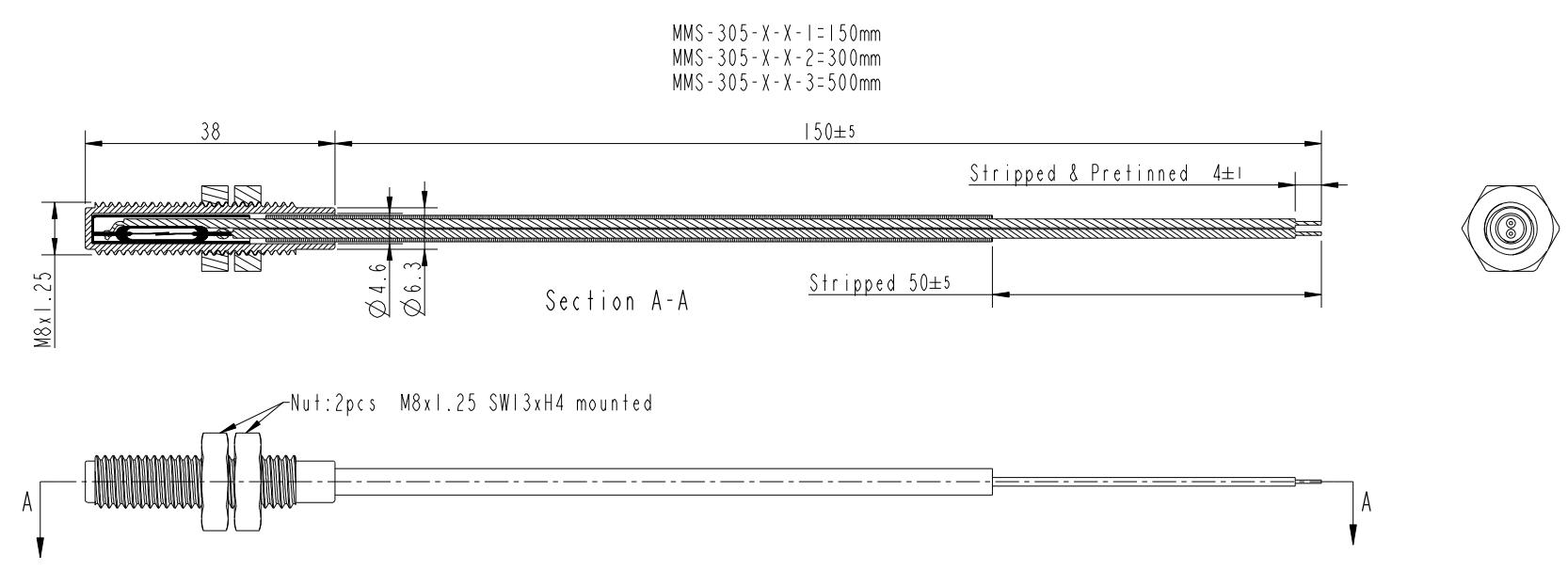 Reedsensor M8 Gewinde MMS-305